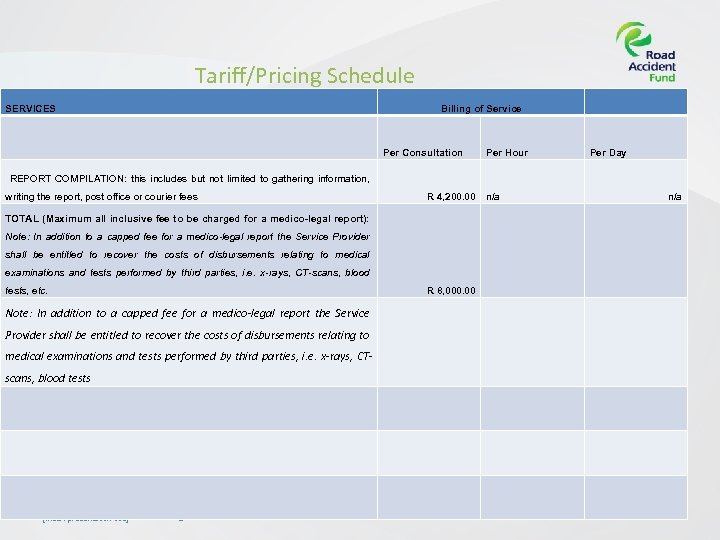 Tariff/Pricing Schedule SERVICES Billing of Service Per Consultation Per Hour Per Day REPORT COMPILATION: