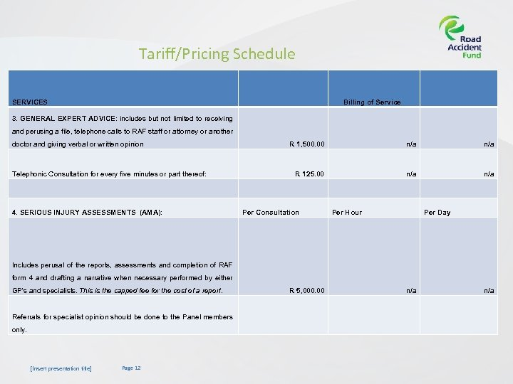 Tariff/Pricing Schedule SERVICES Billing of Service 3. GENERAL EXPERT ADVICE: includes but not limited