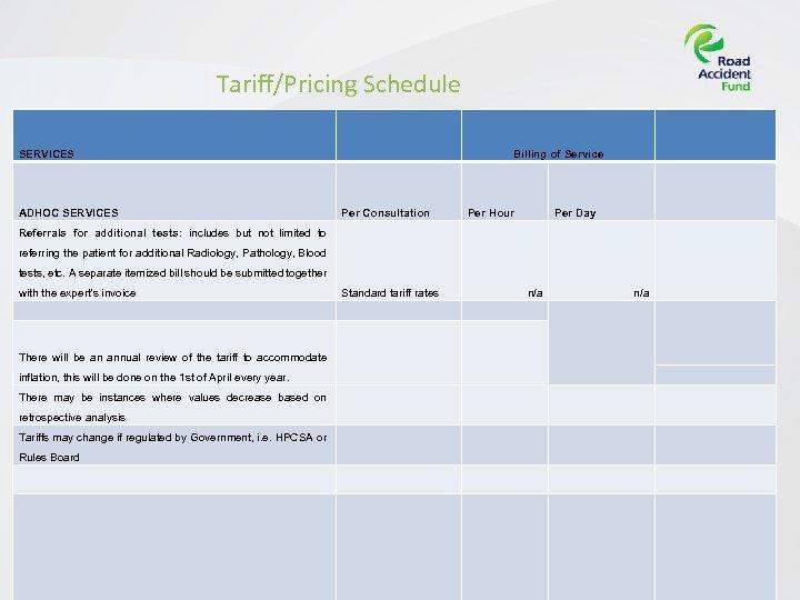 Tariff/Pricing Schedule SERVICES Billing of Service ADHOC SERVICES Per Consultation Per Hour Per Day