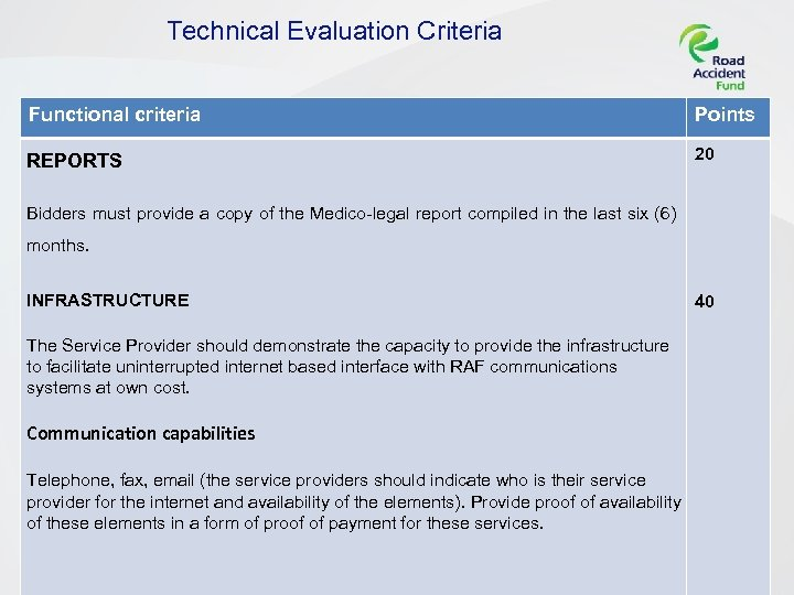 Technical Evaluation Criteria Functional criteria Points REPORTS 20 Bidders must provide a copy of