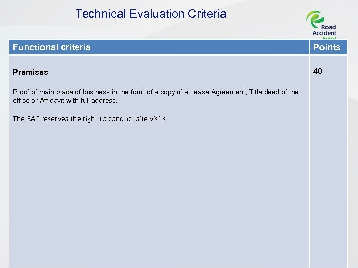 Technical Evaluation Criteria Functional criteria Points Premises 40 Proof of main place of business