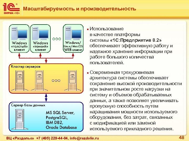 Масштабируемость и производительность n n Использование в качестве платформы системы « 1 С: Предприятие
