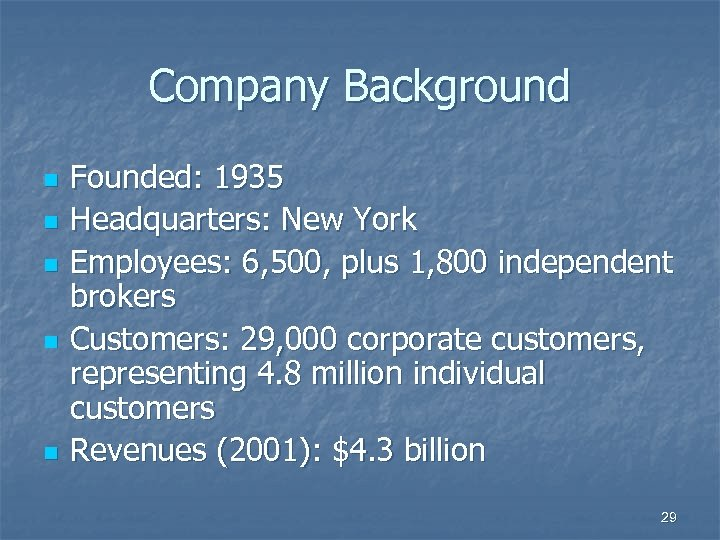 Company Background n n n Founded: 1935 Headquarters: New York Employees: 6, 500, plus