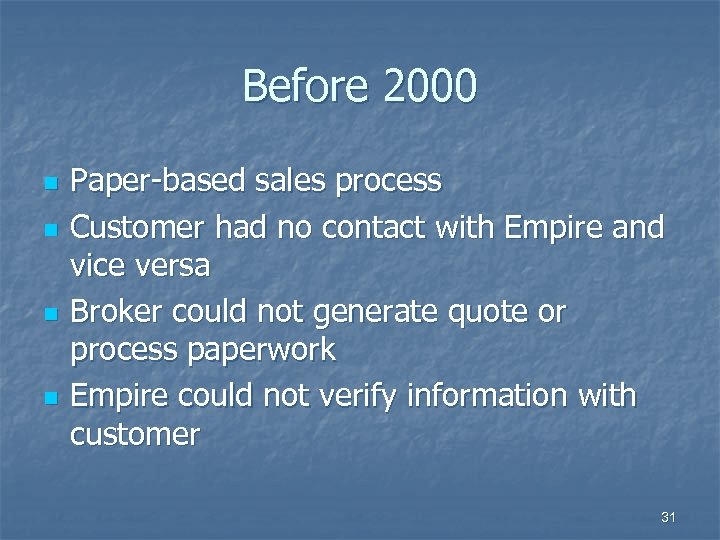 Before 2000 n n Paper-based sales process Customer had no contact with Empire and