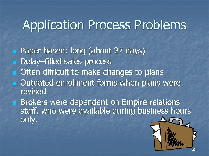 Application Process Problems n n n Paper-based: long (about 27 days) Delay–filled sales process