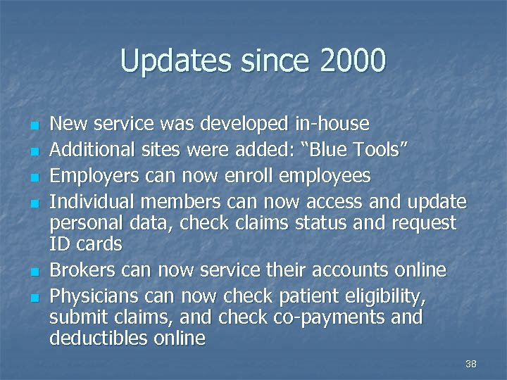 Updates since 2000 n n n New service was developed in-house Additional sites were