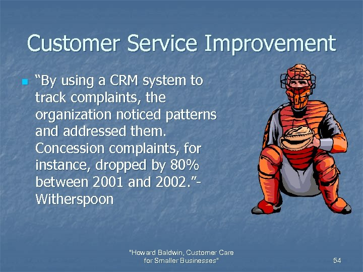 "Customer Service Improvement n ""By using a CRM system to track complaints, the organization"