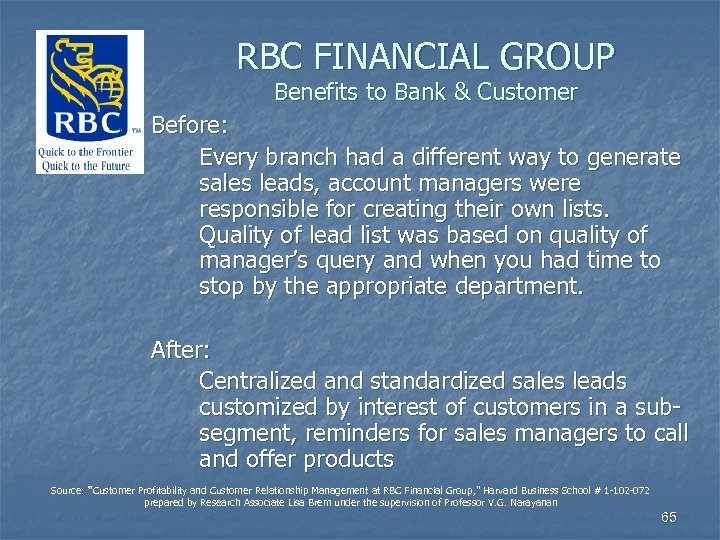 RBC FINANCIAL GROUP Benefits to Bank & Customer Before: Every branch had a different