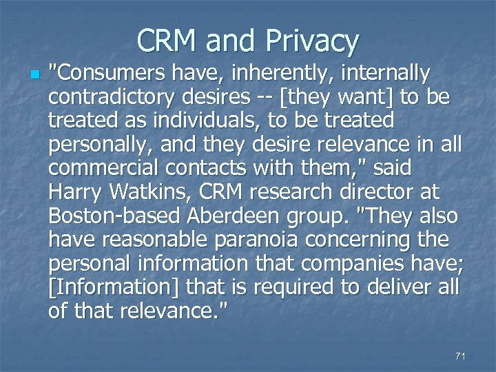 CRM and Privacy n