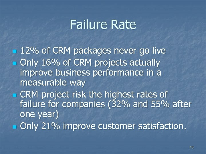 Failure Rate n n 12% of CRM packages never go live Only 16% of