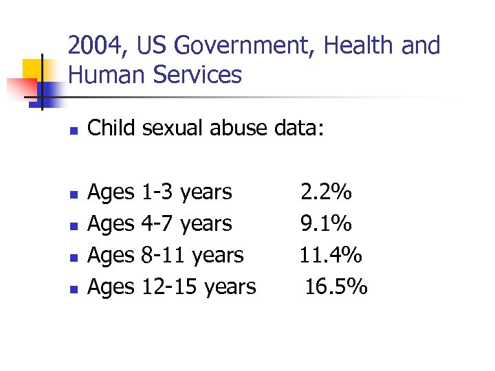 2004, US Government, Health and Human Services n n n Child sexual abuse data: