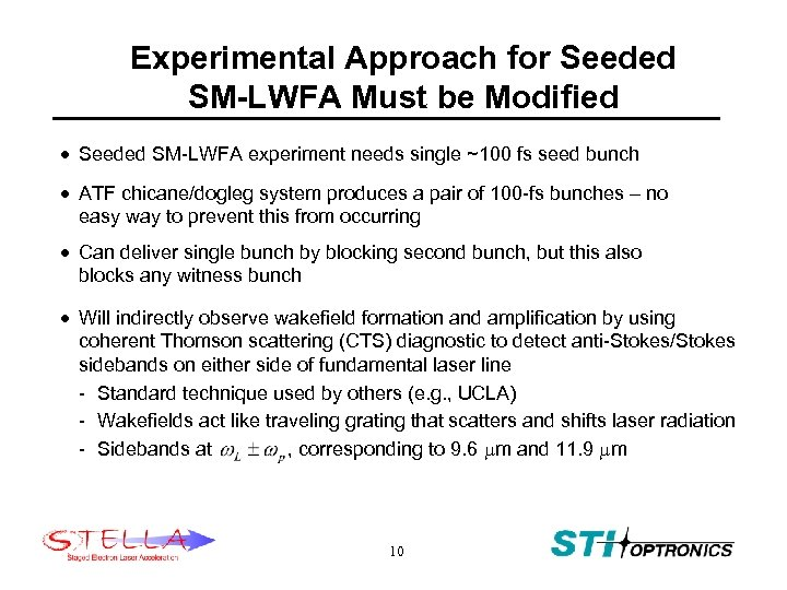 Experimental Approach for Seeded SM-LWFA Must be Modified · Seeded SM-LWFA experiment needs single