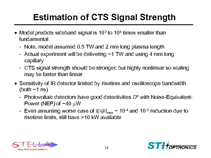 Estimation of CTS Signal Strength · Model predicts sideband signal is 103 to 104