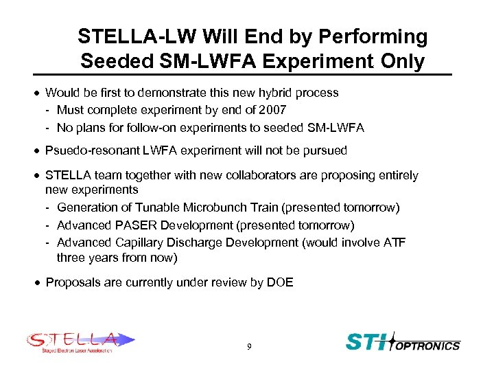 STELLA-LW Will End by Performing Seeded SM-LWFA Experiment Only · Would be first to