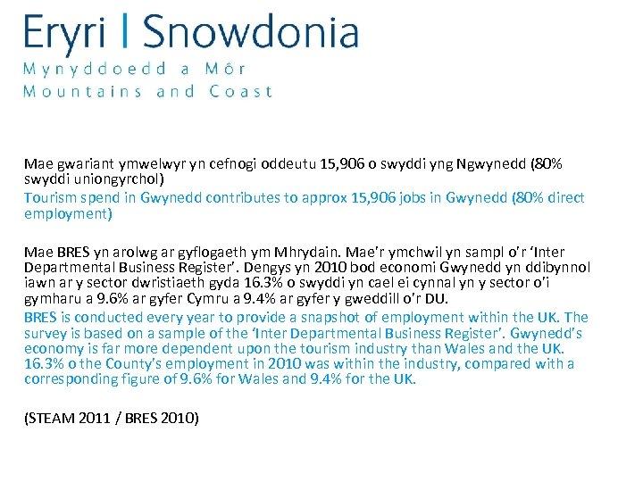 Mae gwariant ymwelwyr yn cefnogi oddeutu 15, 906 o swyddi yng Ngwynedd (80% swyddi