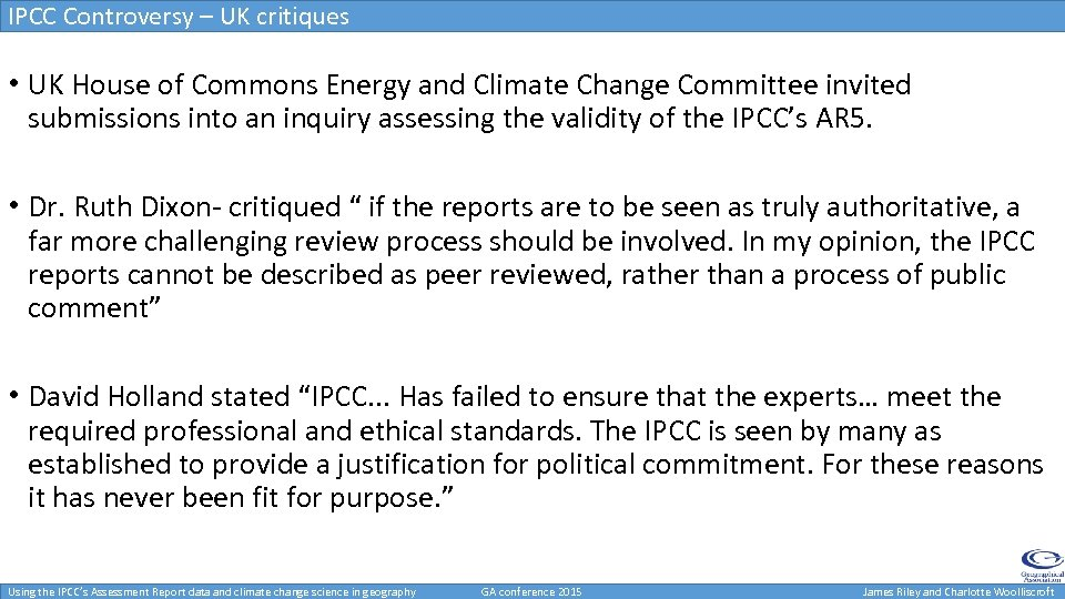 IPCC Controversy – UK critiques • UK House of Commons Energy and Climate Change