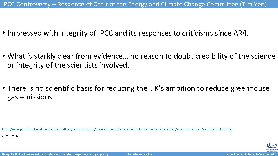IPCC Controversy – Response of Chair of the Energy and Climate Change Committee (Tim