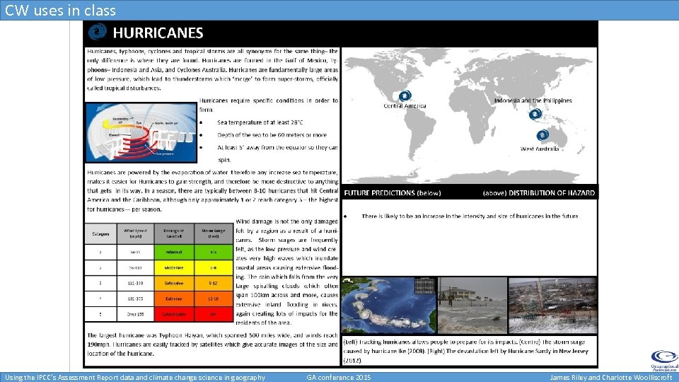 CW uses in class Using the IPCC's Assessment Report data and climate change science