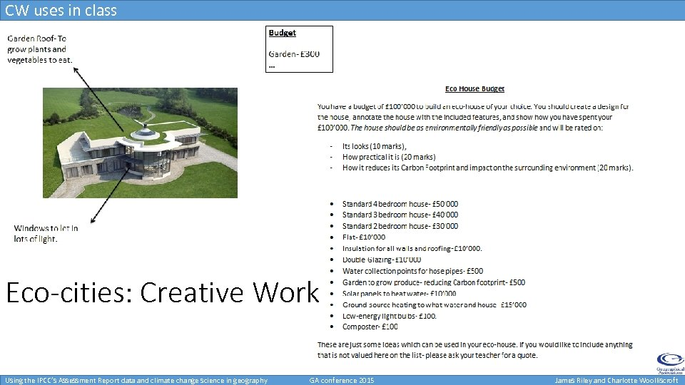 CW uses in class Eco-cities: Creative Work Using the IPCC's Assessment Report data and