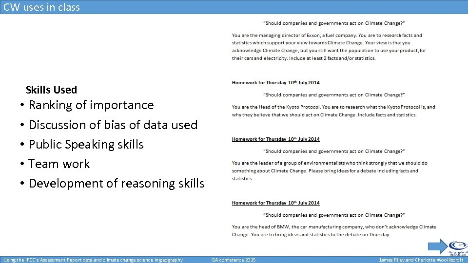 CW uses in class Uses in class Skills Used • Ranking of importance •