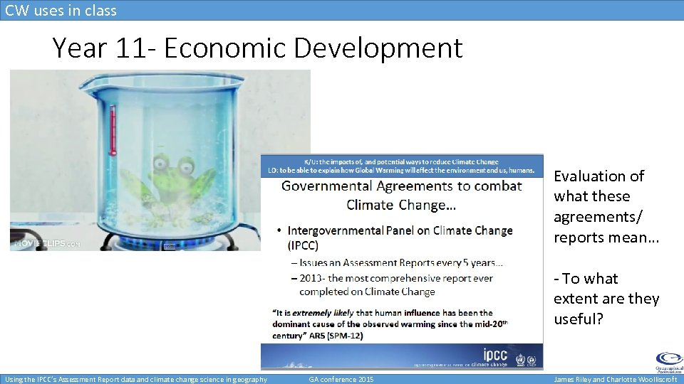 CW uses in class Uses in class- KS 4 Year 11 - Economic Development