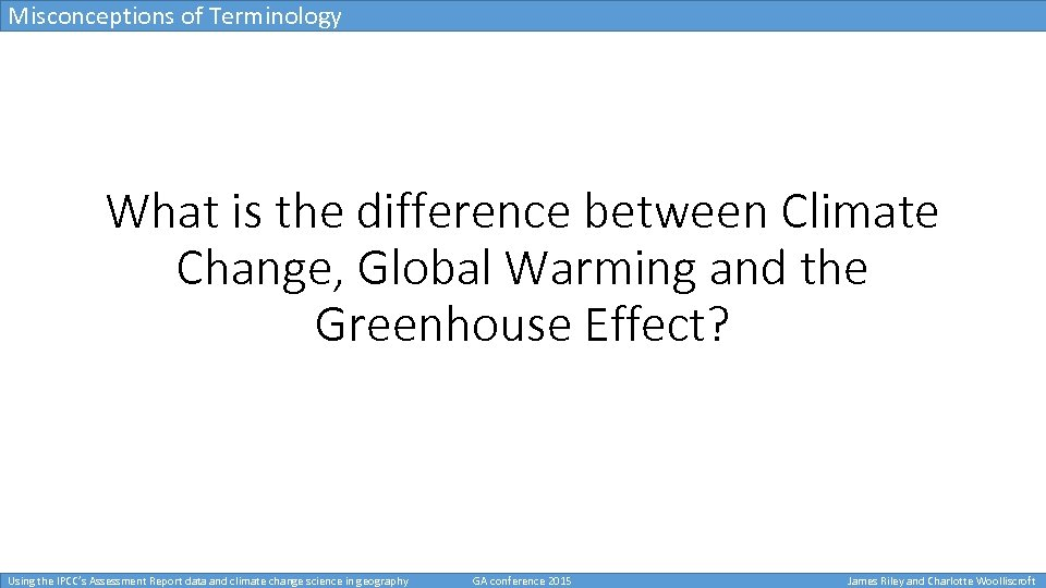 Using the IPCC s Assessment Report data and climate