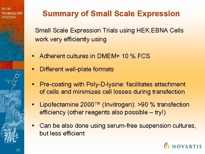 PPCW Workshop NIH 3/28/2004 Summary of Small Scale Expression Trials using HEK. EBNA Cells