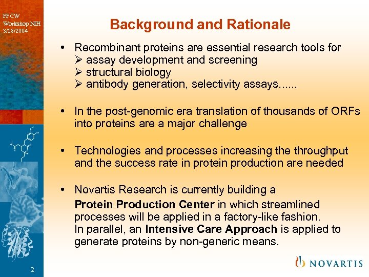 PPCW Workshop NIH 3/28/2004 Background and Rationale • Recombinant proteins are essential research tools
