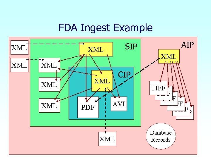 FDA Ingest Example XML AIP SIP XML XML XML CIP XML PDF AVI XML