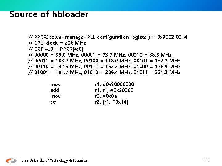 Source of hbloader // // PPCR(power manager PLL configuration register) = 0 x 9002