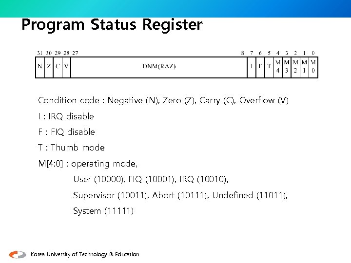 Program Status Register Condition code : Negative (N), Zero (Z), Carry (C), Overflow (V)