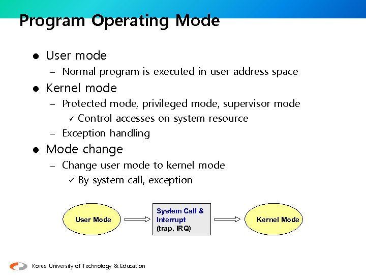 Program Operating Mode l User mode – Normal program is executed in user address