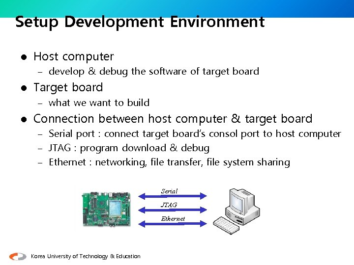 Setup Development Environment l Host computer – develop & debug the software of target