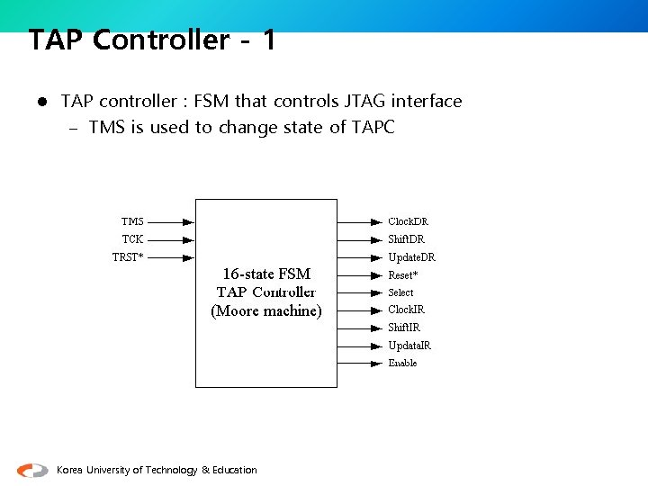 TAP Controller - 1 l TAP controller : FSM that controls JTAG interface –