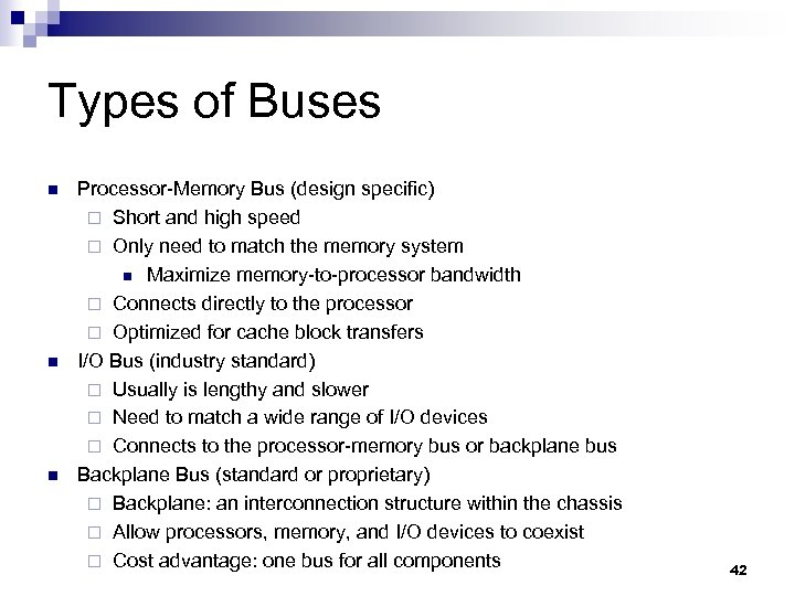 Types of Buses n n n Processor-Memory Bus (design specific) ¨ Short and high