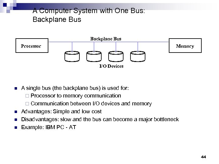 A Computer System with One Bus: Backplane Bus Processor Memory I/O Devices n n