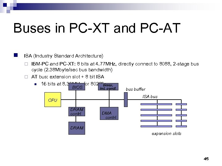 Buses in PC-XT and PC-AT n ISA (Industry Standard Architecture) IBM-PC and PC-XT: 8