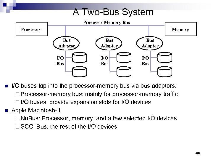 A Two-Bus System Processor Memory Bus Adaptor I/O Bus n n Bus Adaptor I/O