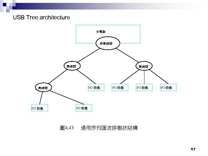 USB Tree architecture 主電腦 根集線器 I/O 設備 I/O 設備 圖 4. 43 通用序列匯流排樹狀結構 57