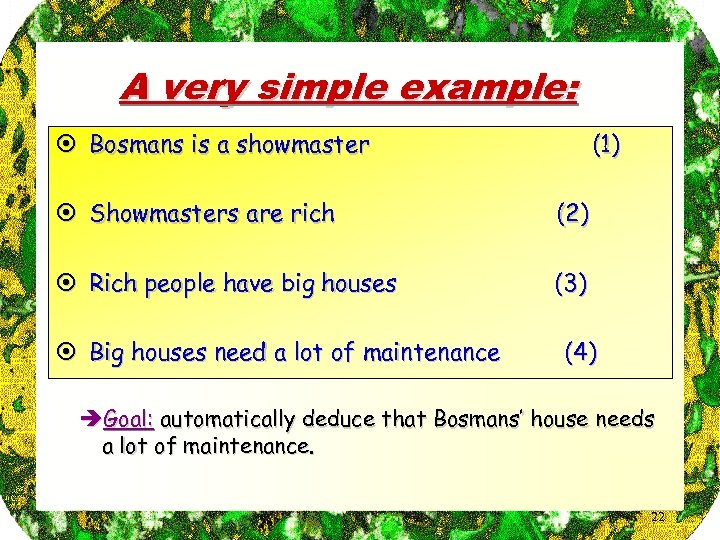 A very simple example: ¤ Bosmans is a showmaster (1) ¤ Showmasters are rich