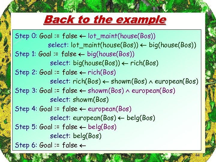 Back to the example Step 0: Goal : = false lot_maint(house(Bos)) select: lot_maint(house(Bos)) big(house(Bos))