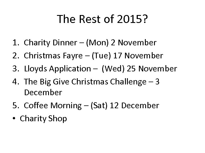 The Rest of 2015? 1. 2. 3. 4. Charity Dinner – (Mon) 2 November