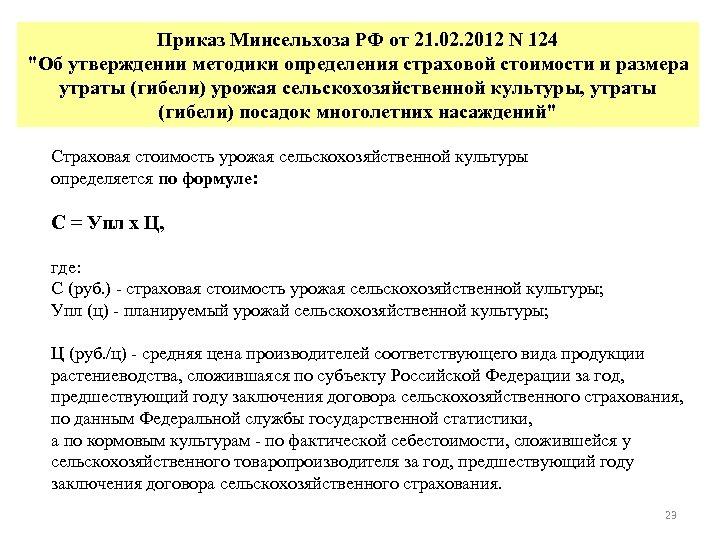 Приказ Минсельхоза РФ от 21. 02. 2012 N 124
