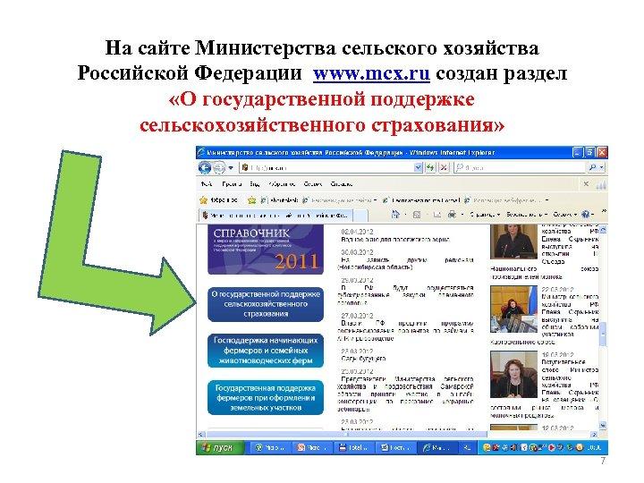 На сайте Министерства сельского хозяйства Российской Федерации www. mcx. ru создан раздел «О государственной