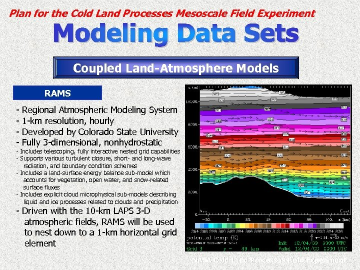 Plan for the Cold Land Processes Mesoscale Field Experiment Coupled Land-Atmosphere Models RAMS -