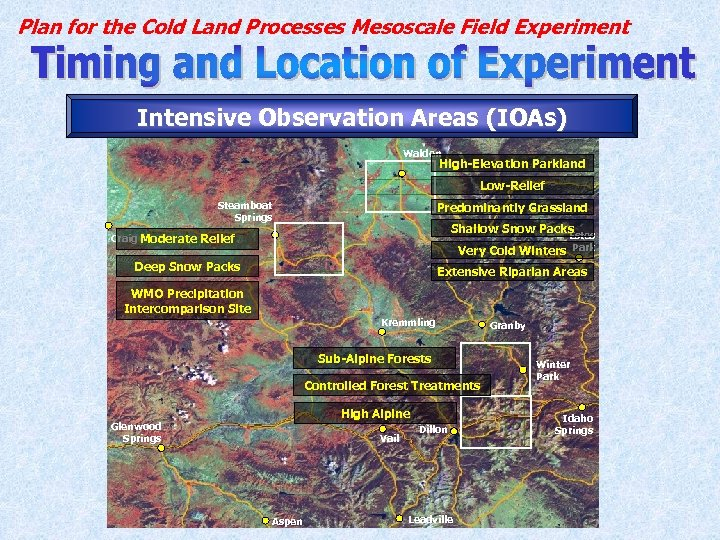 Plan for the Cold Land Processes Mesoscale Field Experiment Intensive Observation Areas (IOAs) Walden
