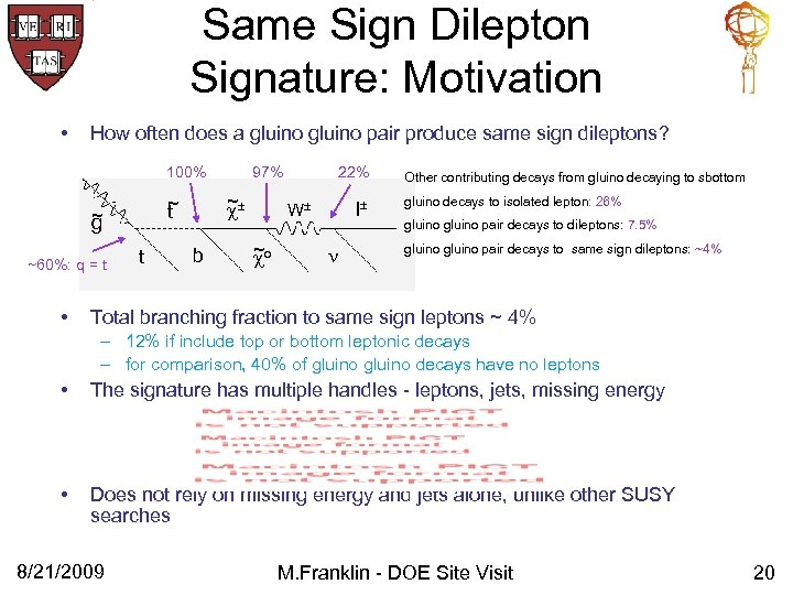 Same Sign Dilepton Signature: Motivation • How often does a gluino pair produce same