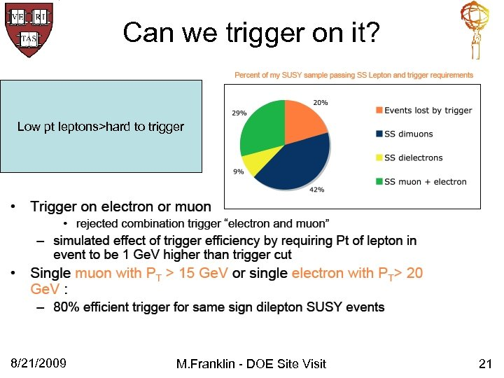 Can we trigger on it? Low pt leptons>hard to trigger 8/21/2009 M. Franklin -