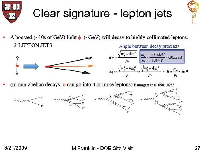 Clear signature - lepton jets 8/21/2009 M. Franklin - DOE Site Visit 27