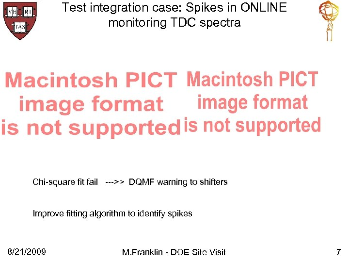 Test integration case: Spikes in ONLINE monitoring TDC spectra Chi-square fit fail --->> DQMF
